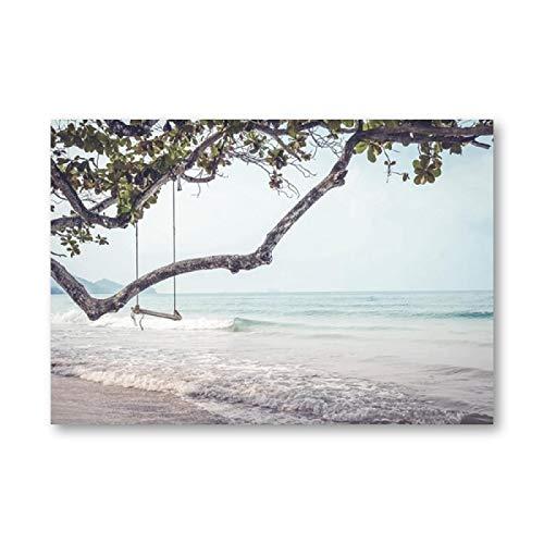 Columpio de playa, cartel de fotografía en blanco y negro, playa costera, lado del mar, paisaje, pintura, arte de pared, impresión en lienzo, decoración del dormitorio, 80x100cm (32x39in) sin marco