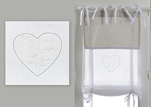 Amadeus Cades Tenda a Pacchetto, Dimensione 60x160 cm, Collezione Parole d'Amore. 100% Cotone, Colore Bianco.
