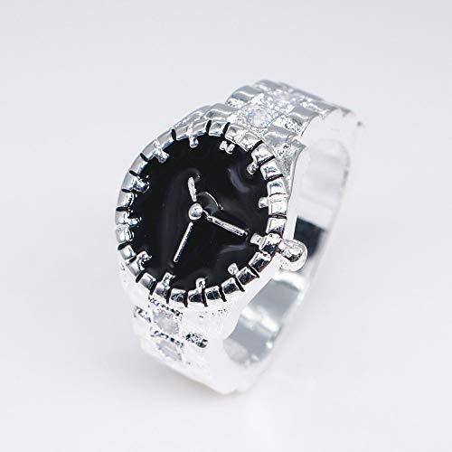 Horloge Vorm Trends Heren Ring Titanium Staal Gepolijst Rechthoek Punk Vriendschap Gift Zilver Creatieve Persoonlijkheid 10 Kleur: wit