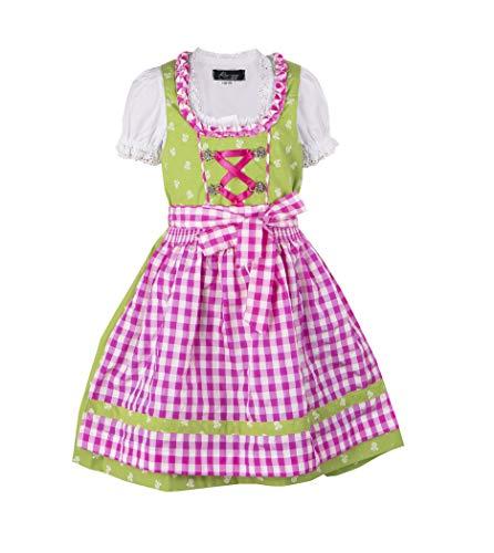 """Ramona Lippert® Kinderdirndl """"Chrissi"""" (Gr. 134-140) grün Kurzarm, 3 TLG. Trachtenkleid für Mädchen"""