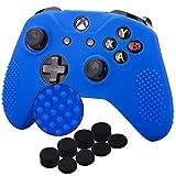 YoRHa Tachonado silicona caso piel Fundas protectores cubierta para Microsoft Xbox One X y Xbox One S Mando x 1 (azul) Con Pro los puños pulgar thumb grips x 8