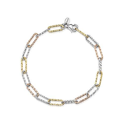 Amberta Bracciale in Argento Sterling 925 Maglia Forzatina - Braccialetto in 3 Colori 4.7 mm per Donna - Lunghezza 19 cm