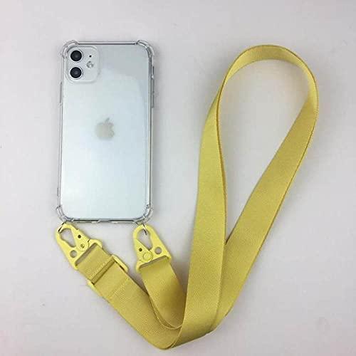 Estuche para teléfono celular con collar de cadena y correa de perlas transparente de lujo para iPhone 11 pro 7 8 6s 6P XR XS Max Funda blanda con correa de metal, cuello amarillo, para iPhone 11Pro