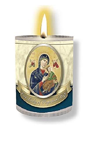 4X Nuestra Señora de Perpetuo Ayuda Velas Burns para 24 Hours Foto en la Parte Delantera Oración en la Parte Posterior 2.5 Pulgadas de Alto