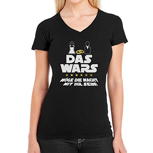 JGA Junggesellinnenabschied Party Das Wars Mit Ihr Damen T-Shirt V-Ausschnitt Large Schwarz