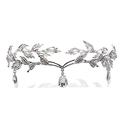 Wiipu Elegant Rhinestone Leaf Wedding Headpiece Headband Bridal Tiara Crown(B630) (silver)