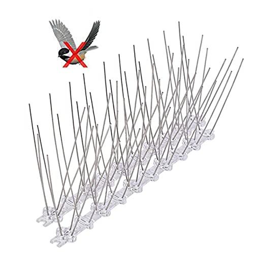 Qiwenr 2 Piezas Pinchos Antipalomas, Acero Inoxidable Anti Paloma Defensa de Aves Repelente Disuasivo Picos Clavos para el Hogar Jardín Valla Techo Ventana Aleros Balcones