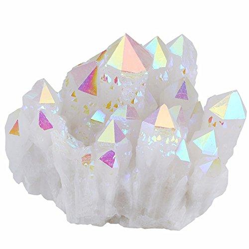 mookaitedecor Titanbeschichteter natürlicher Bergkristall Cluster Geode Stein Exemplar, Engel Aura Quarz, 0,1 kg - 0,2 kg