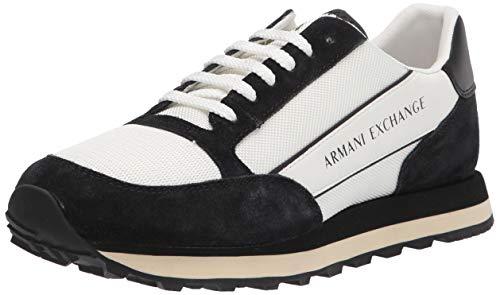 Armani Exchange Herren Suede Bicolor Sneakers Sneaker, Off White Black, 41 EU