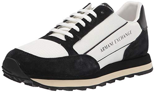 ARMANI EXCHANGE Suede Bicolor Sneakers, Scarpe da Ginnastica Uomo, off White Black, 44 EU