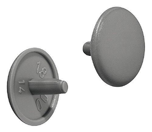 Gedotec Möbel-Abdeckkappen grau RAL 7037 Schrauben-Abdeckungen Kunststoff Schrauben-Kappe rund | H1123 | Verschluss-Stopfen für Kopflochbohrung PZ2 | Ø 12 x 2,5 mm | 100 Stück - Abdeckstopfen rund