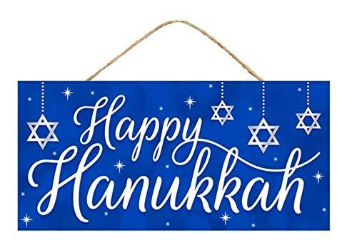 Craig Bachman, 12' Wood Sign: Happy Hanukkah Blue - Hanukkah Wood Wall Door Hanger Sign Royal Blue