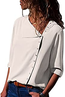Alician Women Long-Sleeve Shirt with Oblique Collar Elegant Blouse