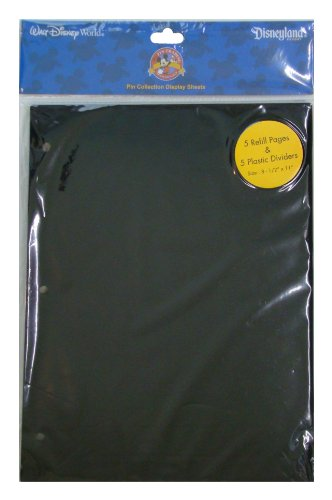 Disney World Parks Exclusive Pin Trading 3-Ring Binder Album Black Refill & Divider Pages