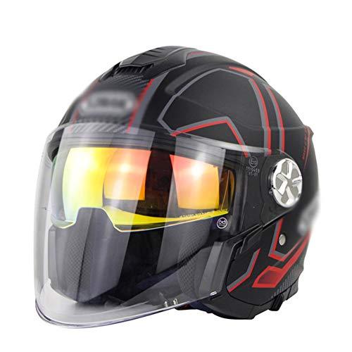 JTYX 3/4 Motorcycle Half Helmet Motorbike Jet Helmet DOT/ECE Approved Open Face Motorbike Helmet Crash Chopper Cruiser Scooter Helmet Double Visor for Adult Men Women