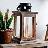 OSALADI Portavelas vintage elegante de hierro Art candelabro de madera farol vela para dormitorio decoración del jardín de casa (con 1 vela electrónica)