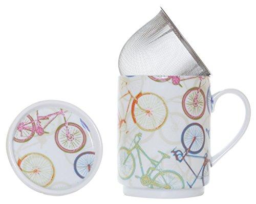La Cija Bicis Tisana de Porcelana con Filtro de Acero Inoxidable, Blanco, 11x7.9x10.9 cm