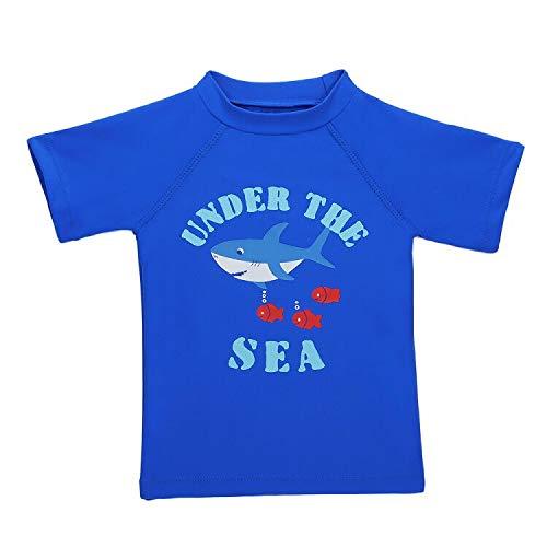 LACOFIA Traje de baño de Manga Corta para bebé Camiseta de baño para niños con protección Solar UPF 50 + Secado rapido Azul 2-3 años