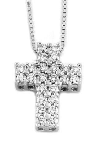 Gems&Gold srl Pendente a Croce in Oro Bianco 18KT con Diamanti