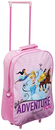 Sambro Disney Princess Trolley, Kids Luggage Travel Suitcase Carry on Cabin Holiday Pull Along Bag, Multi-Colour