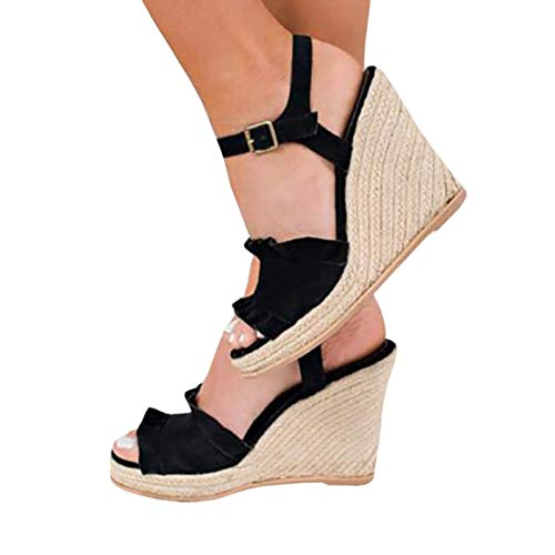 Nailyhome Womens Ruffle Espadrille Wedge Ankle Heels Platform Sandals Open Toe Tie Up Slingback Summer Suede Shoes Black