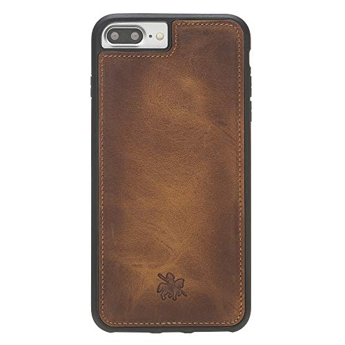 Venito Lucca Leather Case Compatible with iPhone 8 Plus iPhone 7 Plus – Disinfected with a UV Sanitizer – Extra Secure with Padded Back Cover - Antique Brown