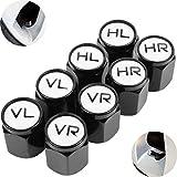 Ventilkappen aus Aluminium, 8 Pack, in schwarz, beschriftete Auto-Ventilkappen mit Dichtung, Reifenmarkierer PKW, Luftventilkappen KFZ, Valve Caps mit Beschriftung, Radmerkerset, Ventil Kappe Auto