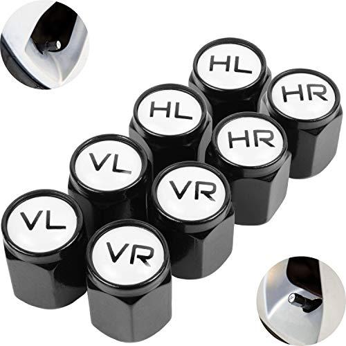 Ventilkappen aus Aluminium, 8 x beschriftete Auto-Ventilkappen mit Dichtung, Reifenmarkierer PKW, Luftventilkappen KFZ, Ventil Caps mit Beschriftung, Radmerkerset, Ventilkappen Auto beschriftet, 8X