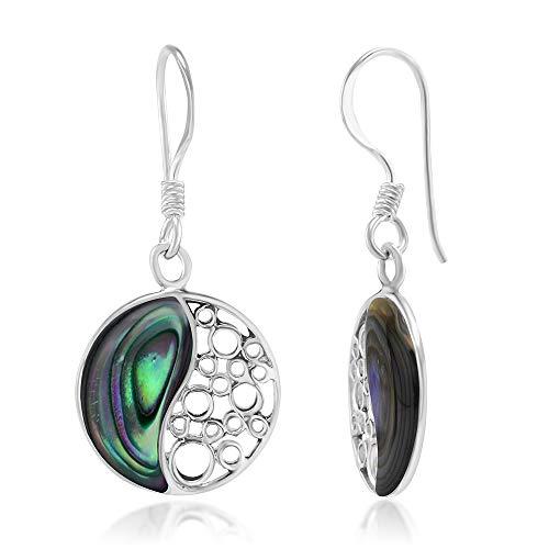 925 Sterling Silver Green Abalone Shell Inlay Yin Yang Dangle Hook Earrings
