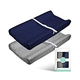 Babebay Changing Pad Cover – Ultra Soft Minky Dots Plush Changing Table Covers Breathable Changing Table Sheets Wipeable Changing Pad Covers Suit for Baby Boy and Baby Girl