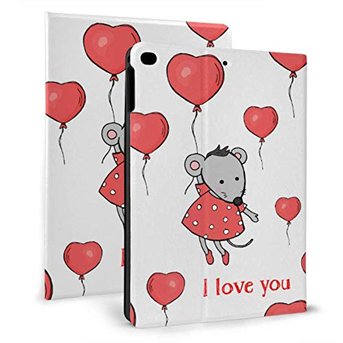 Custom Ipad Case Cute Mouse Hold Ballons Ipad Case Protective Case For Ipad Mini 4/mini 5/2018 6th/2017 5th/air/air 2 With Auto Wake/sleep Magnetic Mens Ipad Case