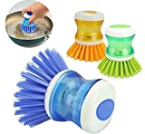Unyks Star Dish/Washbasin Plastic Cleaning Brush with Liquid Soap Dispenser (2 Pcs)