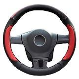 LucaSng ハンドルカバー ステアリングカバー アイスシルク 通気 本革 軽自動車 四季 汎用 赤い S:外径35.5-36CM