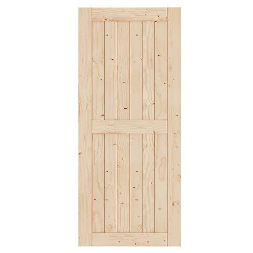 EaseLife 36in x 84in Sliding Barn Wood Door Slab,Solid Nature Spruce,DIY Unfinished Panel,Interior Door,Easy Install,H-Frame (Fit 6FT-6.6FT Track Kit)