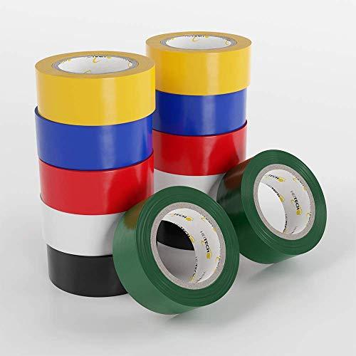 HEITECH PVC Isolierbänder 12er Pack - Isolierband 19 mm x 5 m in 6 verschiedenen Farben - 12 Rollen Elektro Isolierband - Isoband Elektriker Klebeband - Dichtungsband