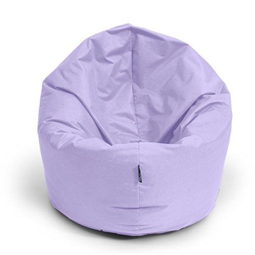 BuBiBag Sitzsack M - XXL 2 in 1 mit Füllung Sitzkissen Tropfenform Bodenkissen Kissen Sessel BeanBag (125cm Durchmesser, Flieder)