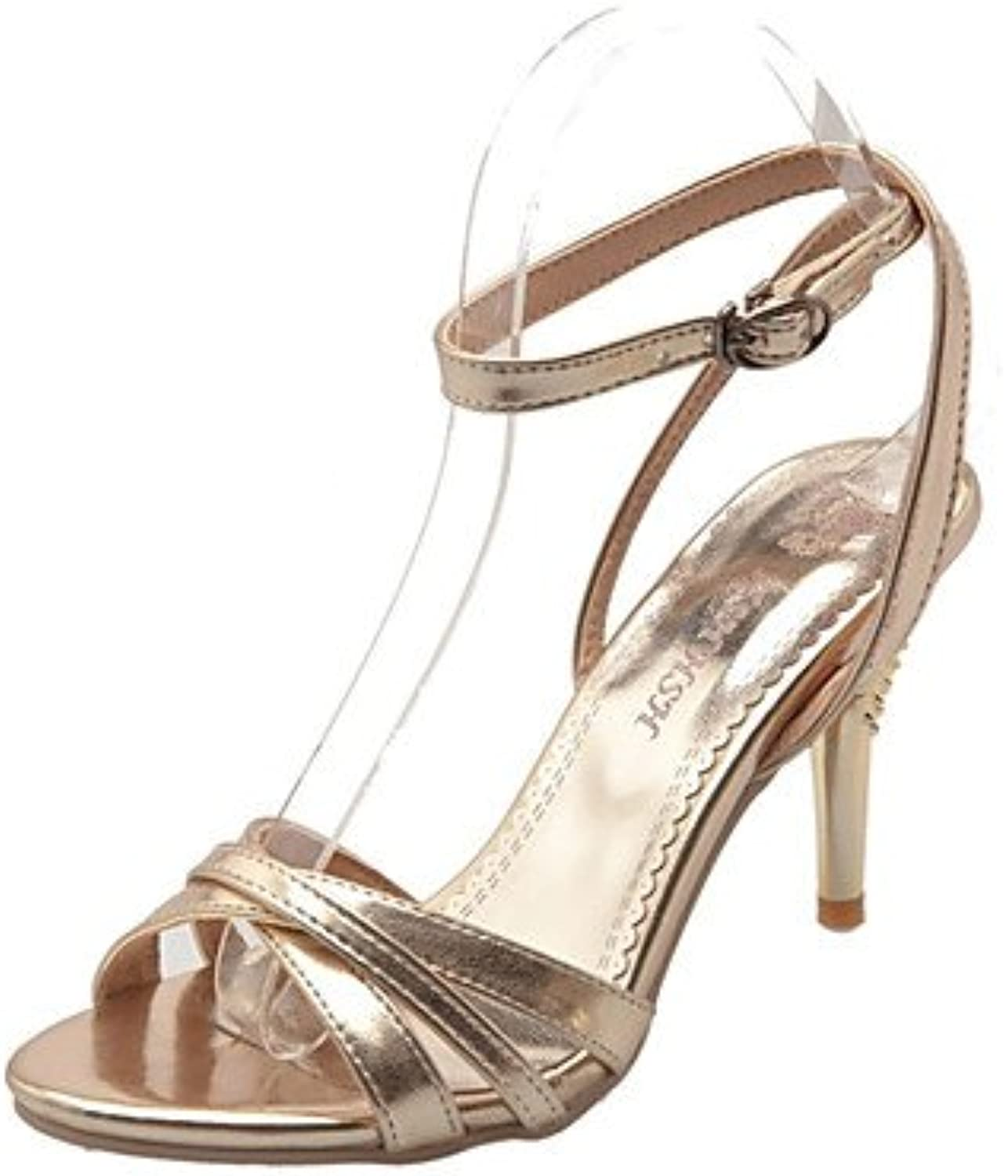 N.Y.L.A. Women's shoes Patent Leather Stiletto Heel Heels Styles Open Toe Sandals Office & Career Party & Evening Silver, golden, us8.5   eu39   uk6.5   cn40