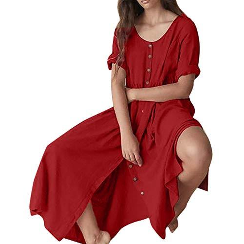 Lialbert Rundhals Boho Dame Freizeitkleid Maxikleider ÄRmeln GroßE GrößE HäNgerkleid TaillengüRtel Frauen Seitlichem Schlitz Tunika Kleider Rock Rot