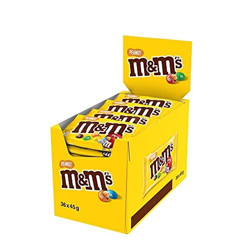 M&M's PEANUT - Billes à la cacahuète enrobés de chocolat au lait - Maxi Pack de 36 sachets de 45g