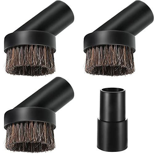 Round Dust Brush Vacuum Attachment Vacuum Attachment with 1-1/4 to 1-3/8 Inch Hose Adapter for 1.25 Inch Cleaner Vacuum Attachment Dust Brush Soft Bristle Replacement (Horsehair)