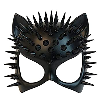 MASQSTUDIO Red Black Cat Woman Dress up Cosplay Party Masquerade Mask Spiky Halloween  Black