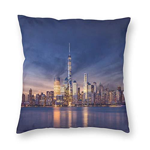 ZUL Fundas de cojín con Estampado 3D, New York Skyline Manhattan After Sunset Metropolis Downtown Urban Panorama USA, Fundas de cojín cuadradas Decorativas para sofá, decoración del hogar