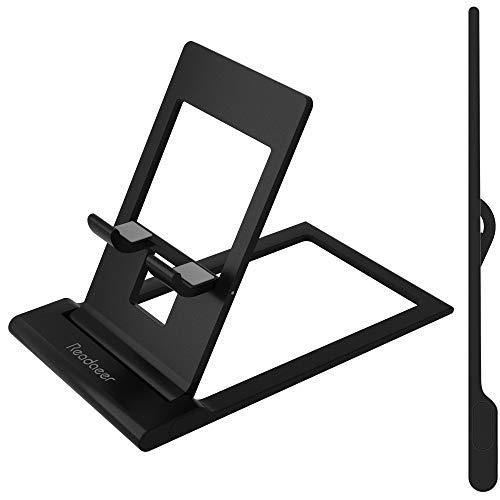 Reodoeer アルミ製 超薄型 軽量 スマホスタンド カードサイズ 折り畳み式 タブレットスタンド 携帯スタンド 角度自由調整可能 (ブラック)
