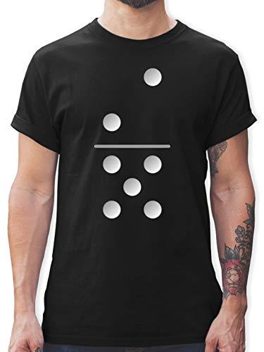 Karneval & Fasching - Dominostein 2-5 - XXL - Schwarz - Dominostein - L190 - Tshirt Herren und Männer T-Shirts