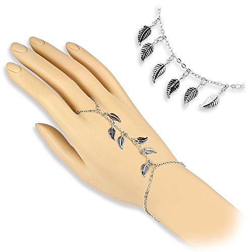 Bungsa® Handkette silber mit Blätter Charms für Damen (Armband Fingerring Fingerkette Handschmuck Slave- Kette Leaf)