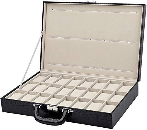 Caja de Relojes de Cuero Caja de reloj de madera de 24 bits portátil Reloj de gran espacio exhibición de la joyería Colección de almacenamiento Caja de almacenamiento caja de regalo for los regalos a