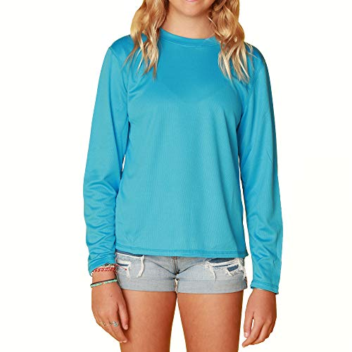 INGEAR Girls Swim Shirt UPF Girls Sun Shirts Girls Long Sleeve Rash Guard (Turquoise, X-Large)