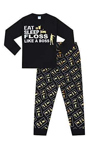Eat Sleep Floss Like a Boss Pajamas Gaming Dance Gold (12)