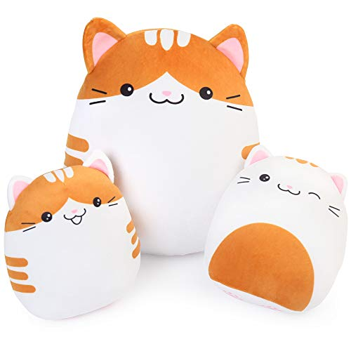BenBen Cat Plush Pillow, Set of 3 Squishy Kitty Stuffed Animals Hugging Pillows, Soft Cushion Toys, Gift for Kids Girls Boys, 7 and 12 inch