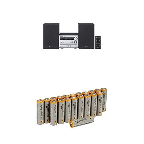 Panasonic Micro HiFi SC-PM250EG-S (20 Watt RMS, CD,UKW, Bluetooth) silber mit Amazon Basics Batterien
